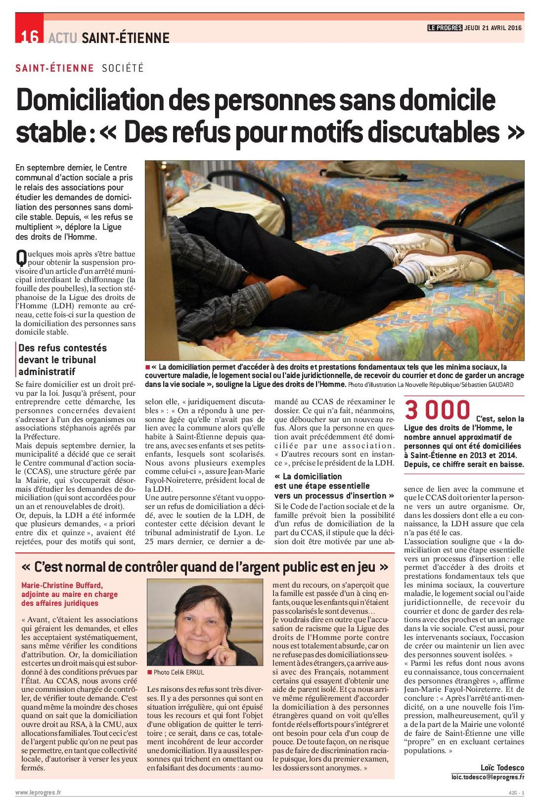 La tribune2016 04 21 la ldh de st etienen se bat pour le respect du droit a domiciliation 2