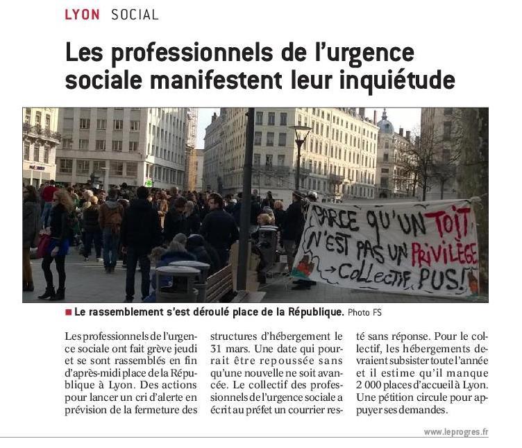 Progres2016 03 24 les professionnels de l urgence sociale dans la rue 2