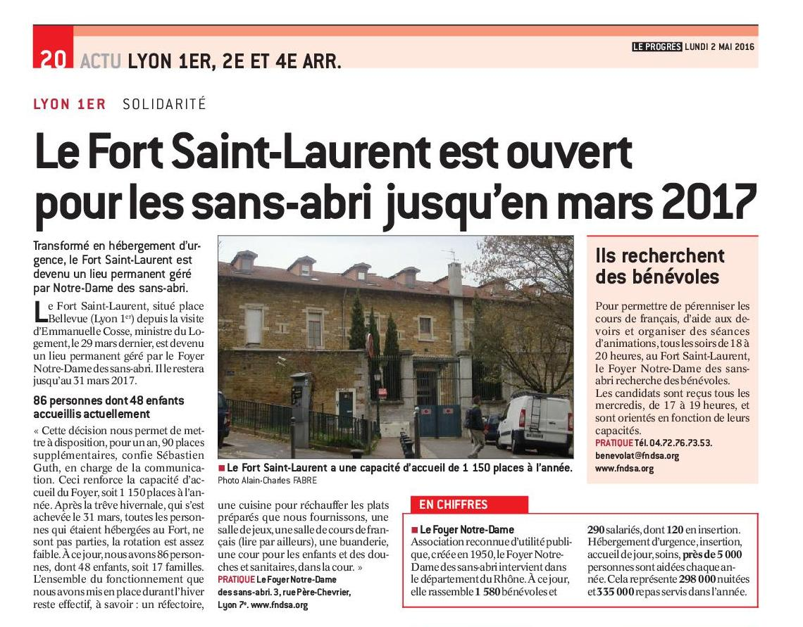 Progres2016 05 02 le fort sain laurent reste ouvert jusqu en mars 2017